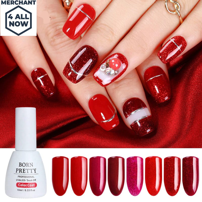 Red Series Glitter Sparkle Nail Gel Polish 10ml Bling Shining Soak ...